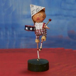 Lori Mitchell Figurine - Little Patriotic Boy Figurine - Wooden Duck Shoppe