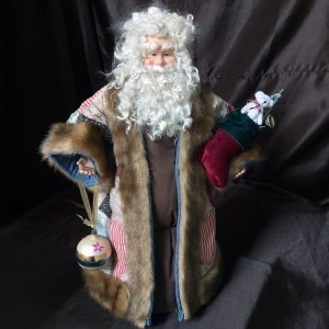 St. Nick's Attic - Red and Blue Triangle Santa with Stocking