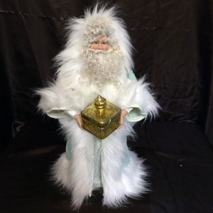 St. Nick's Attic - Mint Green Santa with Golden Gift Box