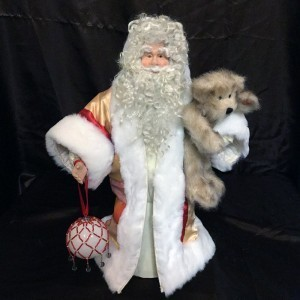 St. Nick's Attic - Silk Red and Gold Stripe Santa with Handmade Red and White Beaded Ornament