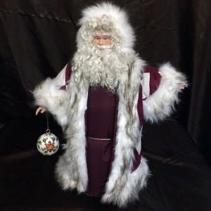 St. Nick's Attic - Maroon Crisscross Santa with Stocking