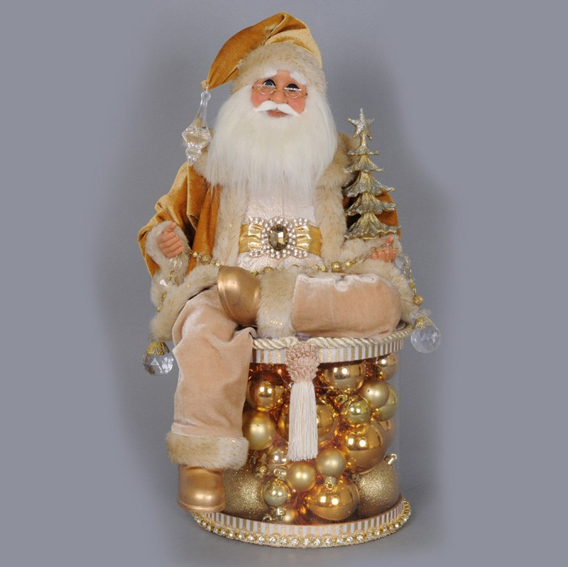 Charming Lighted Golden Christmas Shine Santa