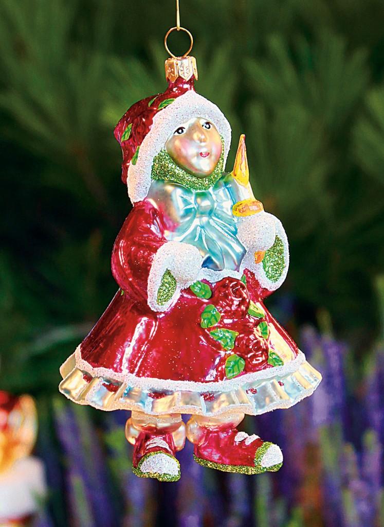 Mackenzie Childs Christmas Ornaments.Red Elf Glass Ornament