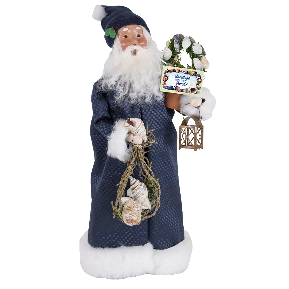 "Jbigg S Little Pieces Byers Choice Carolers: Beach Santa With Sign ""Welcome To The Beach"